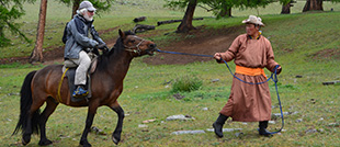 Horse riding in central part of Mongolia